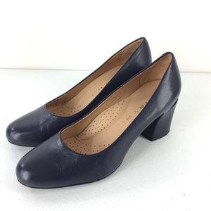Writh 7 Navy Blue Chunky high heels Career pumps